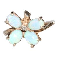 14K Yellow Gold Diamond Opal Butterfly Ring