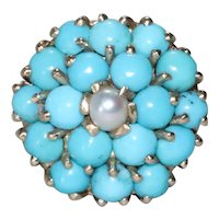 Vintage 14K Yellow Gold Turquoise Cultured Pearl Cluster Ring