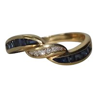 18K Yellow Gold Channel Set Diamond Sapphire Crossover Ring
