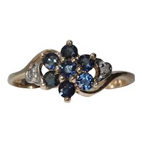 10K Yellow Gold Diamond Sapphire Cluster Ring