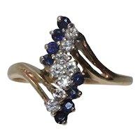 Vintage 14K Yellow Gold Diamond Sapphire Ring