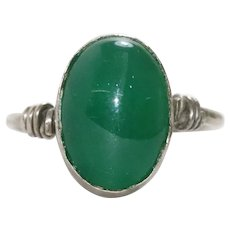 Vintage Sterling Silver Jade Ring
