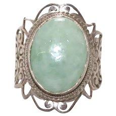 Unique Vintage Sterling Silver Jade Ring