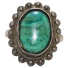 Vintage Sterling Silver Malachite Ring