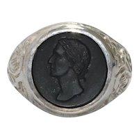 Sterling Silver Black Onyx Julius Caesar Ring