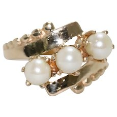 14k Gold Cultured Pearl Beaded Ring
