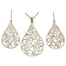 Sterling Silver over 14k Filigree Teardrop Cubic Zirconia Earrings and Necklace Set