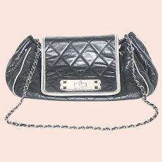 CHANEL Classic Flap  Reissue Vintage Retro Bicolor Accordion Black And White Leather Cross Body Bag