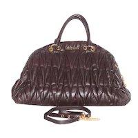 Miu Miu Matelassé Brown Satchel Bag