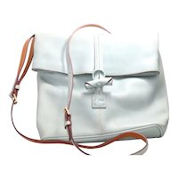 Vintage Dooney & Bourke Light Blue Leather Crossbody Bag