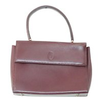 Vintage Cartier 100% Burgundy Bordeaux Leather Handbag
