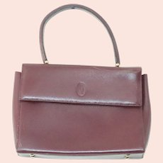 Vintage Cartier 100% Burgundy Bordeaux Leather Handbag