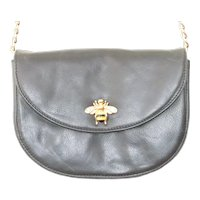 Lena Erziak Black Leather Bee Crossbody Handbag
