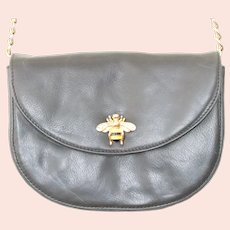 Lena Ezriak Black Leather Bee Crossbody Handbag