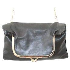 Lena Erziak Black Leather Ball Snap Crossbody Handbag
