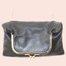 Lena Ezriak Black Leather Ball Snap Crossbody Handbag