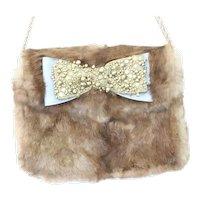 Lena Erziak Rabbit Fur Blue Soft Leather Bow Shoulder Bag