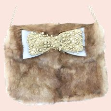 Lena Ezriak Rabbit Fur Blue Soft Leather Bow Shoulder Bag