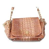 Lena Erziak Brown Crocodile Leather Shoulder Bag