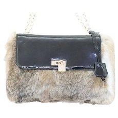 Lena Erziak Rabbit Fur Black Leather Lock Shoulder Bag