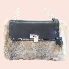 Lena Ezriak Rabbit Fur Black Leather Lock Shoulder Bag