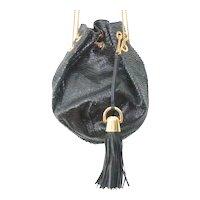 Lena Erziak Paolo Cinch Black Snake Skin Shoulder Bag