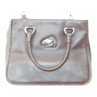 Vintage Barry Kieselstein-Cord Braided Leather Sterling Silver Shoulder Bag