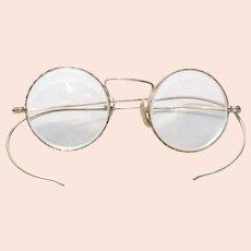 Vintage 12KT Gold Filled Small Round Frame Glasses With 14KT Gold Nose Pads