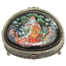 Vintage Russian 12 Months Enamel Painting Jewelry Box