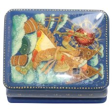 """Enamel Jewelry Box With Scenery of """"The Good Luck Fish"""""""