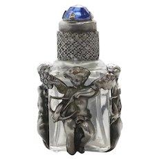 Vintage Sterling Silver Blue Stone Cupid Design Perfume Bottle