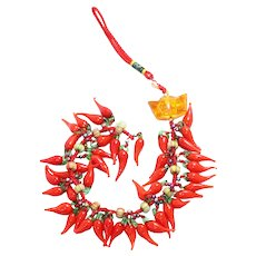 Vintage Amber Chinese Chili Pepper Decoration