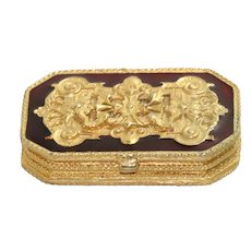 Vintage Estee Lauder Burgundy And Gold Enamel Pill Box