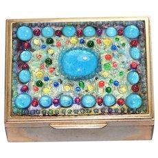 Vintage Multi Colored Marble Handmade Jewelry Box