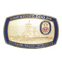 Vintage USS STOUT DDG 55 Belt Buckle