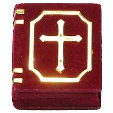 Vintage Red Velvet Bible Cross Jewelry Box