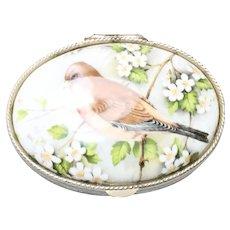 Vintage Porcelain Bird Design Jewelry Box