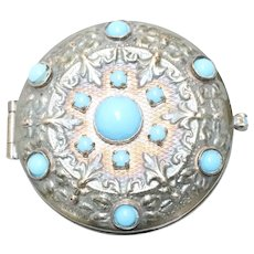 Vintage Costume Turquoise Floral Pill Box