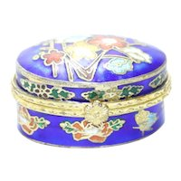 Vintage Blue Enamel Floral Jewelry Box
