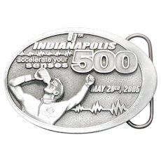 Indy 89th Indianapolis 500 Accelerate Your Senses 2005 Pewter Belt Buckle 250044