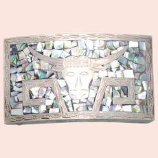 Sterling Silver Mosaic Mother of Pearl Bull Belt Buckle