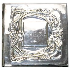 Vintage Silver Tone Rectangular Pocket Mirror