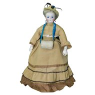 """Stunning 16"""" French Bisque Fashion Poupee in  Antique Outfit"""