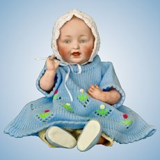 "Sweet Kestner Blue-Eyed Character Baby, Just 10"" Tall"