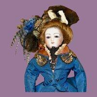 """13.5"""" French Fashion Poupee w/ Cobalt Blue Glass Eyes"""