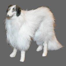 White Fur Borzoi Dog, French Poupee Accessory