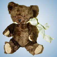 Chocolate Brown Mohair Knickerbocher Bear, C 30s