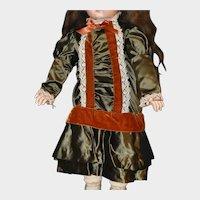 """Vintage Satin & Velvet Bebe Dress for 26-28"""" doll"""