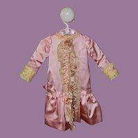 Vintage Pink Satin Bebe Dress for Antique Doll
