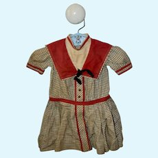 Vintage Red and Tan Dress for Antique German/French Doll